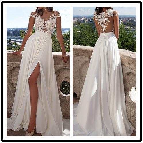 BohoProm Wedding Dresses Romantic Chiffon Bateau Neckline A-line Wedding Dresses With Appliques WD105
