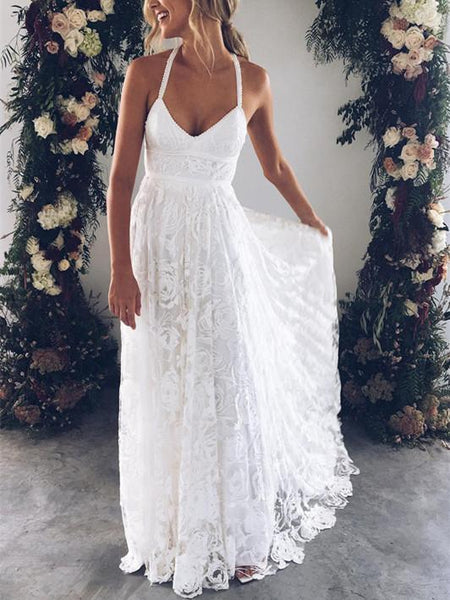 BohoProm Wedding Dresses Romantic Lace Halter Neckline A-line Wedding Dresses With Appliques WD019