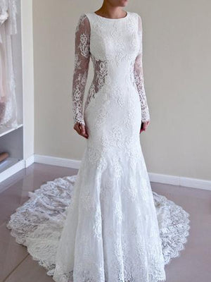 BohoProm Wedding Dresses Romantic Lace Scoop Neckline Mermaid Wedding Dresses With Pleats WD017