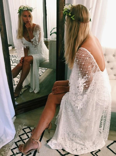 BohoProm Wedding Dresses Romantic Lace V-neck Neckline Cape Sleeves Sheath Wedding Dresses WD149