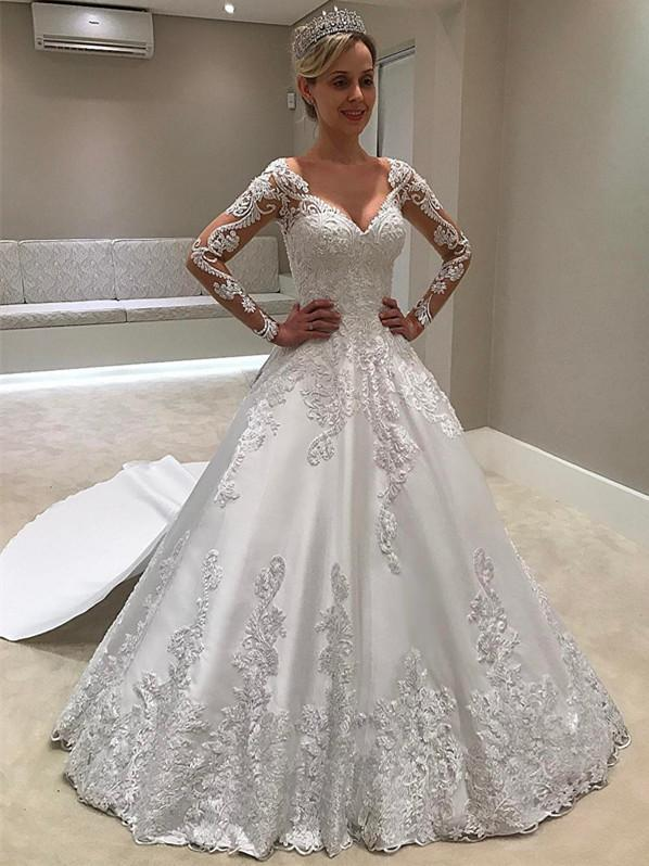 BohoProm Wedding Dresses Romantic Satin V-neck Neckline A-line Wedding Dresses With Appliques WD052