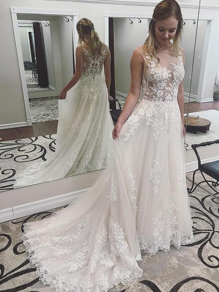BohoProm Wedding Dresses Romantic Tulle Scoop Neckline A-line Wedding Dresses With Appliques WD142