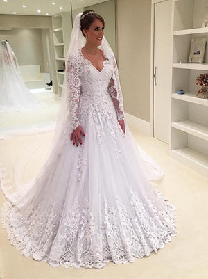BohoProm Wedding Dresses Romantic Tulle V-neck Neckline A-line Wedding Dresses With Beaded Appliques WD085