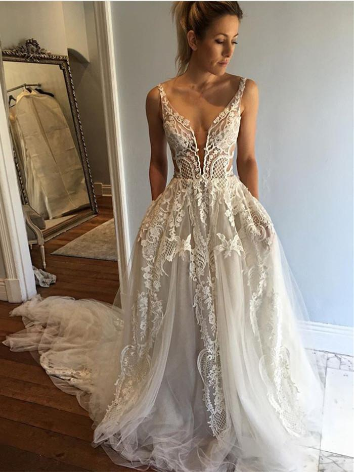 BohoProm Wedding Dresses Sexy Tulle Spaghetti Straps Neckline Chapel Train A-line Wedding Dresses WD125