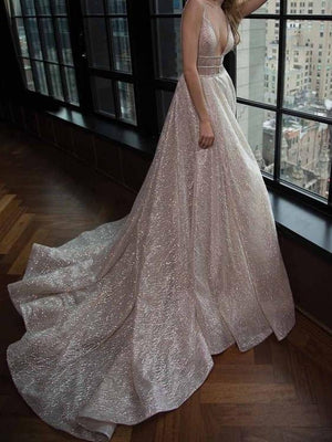 BohoProm Wedding Dresses Shimmering Glitter Tulle V-neck Neckline Chapel Train A-line Wedding Dresses WD103