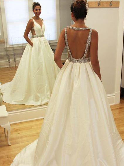 BohoProm Wedding Dresses Simple Taffeta V-neck Neckline Chapel Train A-line Wedding Dresses WD128