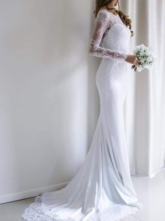 BohoProm Wedding Dresses Stunning Acetate Satin Bateau Neckline Mermaid Wedding Dresses With Appliques WD016
