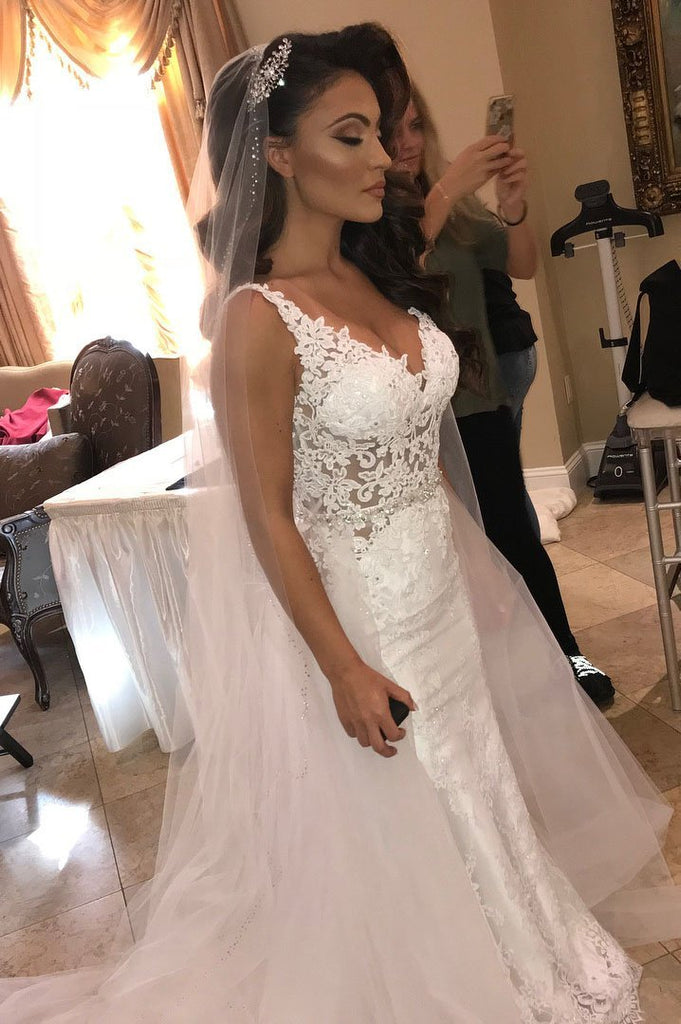 BohoProm Wedding Dresses Stunning Lace V-neck Neckline 2 In 1 Wedding Dresses With Beaded Appliques WD075