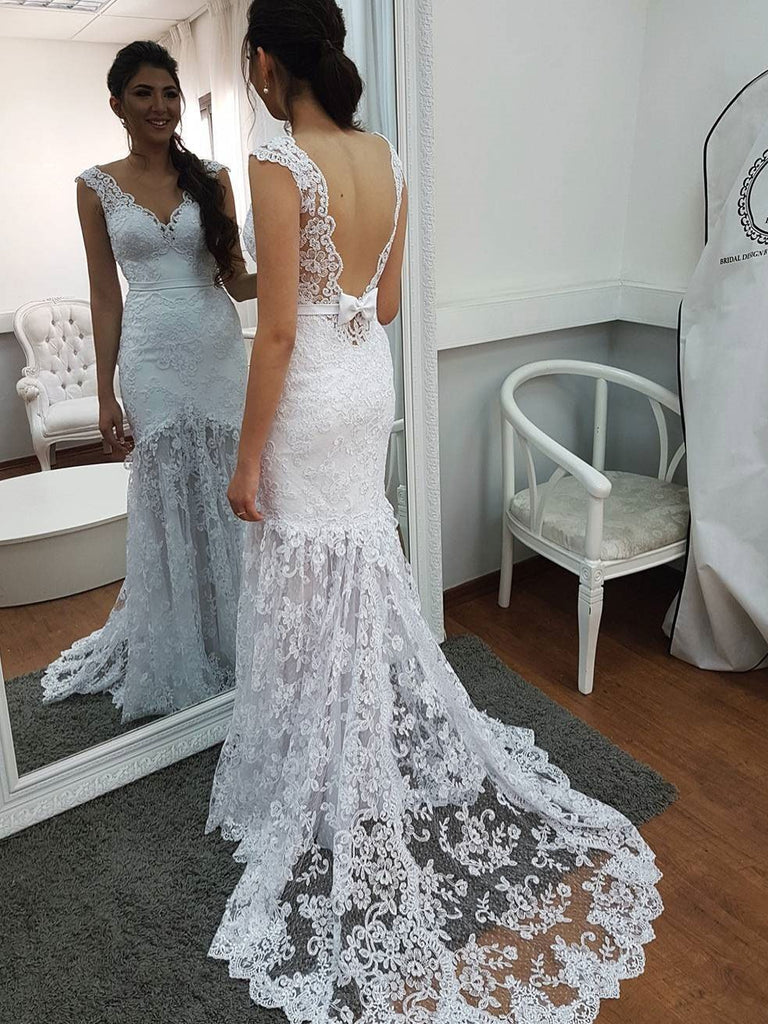 BohoProm Wedding Dresses Trumpet/Mermaid Sweetheart Sweep Train Tulle Lace Appliqued  Long  Wedding Dresses 2814