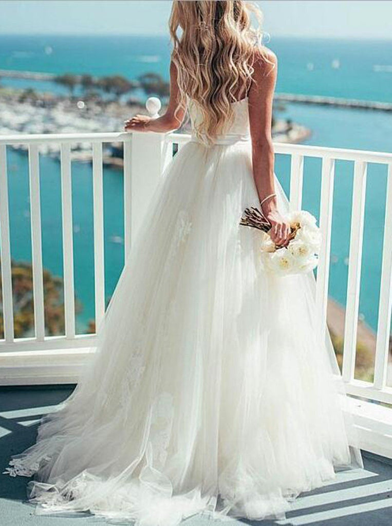 BohoProm Wedding Dresses Unique Tulle Spaghetti Straps Neckline A-line Wedding Dresses WD147