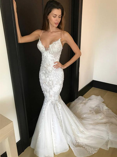 BohoProm Wedding Dresses Unique Tulle Spaghetti Straps Neckline Mermaid Wedding Dresses With Appliques WD066