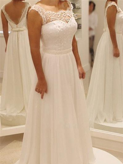 BohoProm Wedding Dresses Wonderful Chiffon Bateau Neckline A-line Wedding Dresses With Appliques WD007