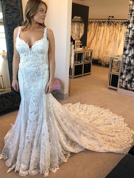 BohoProm Wedding Dresses Wonderful Lace Spaghetti Straps Neckline Mermaid Wedding Dresses With Appliques WD032