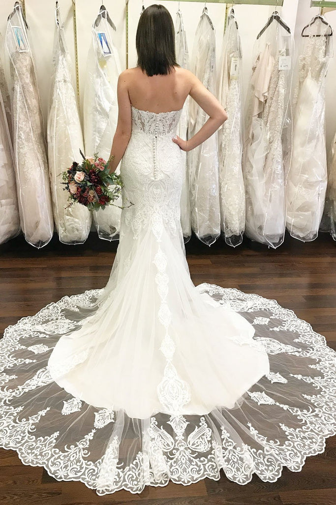 BohoProm Wedding Dresses Wonderful Tulle Sweetheart Neckline Sheath Wedding Dresses With Beaded Appliques WD069