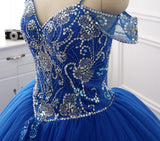 A-line Spaghetti Strap Sweep Train Tulle Royal Blue Quinceanera Dresses ASD27100