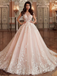 A-line Scoop-Neck Cathedral Train Tulle Appliqued Romantic Wedding Dresses HX0069