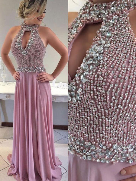 SheerGirl prom dresses A-line Beaded Bodice Halter Long Chiffon Prom Dresses APD2810