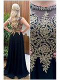 SheerGirl prom dresses A-line Black Chiffon with Gold Lace appliqued Long Prom Dresses APD2826