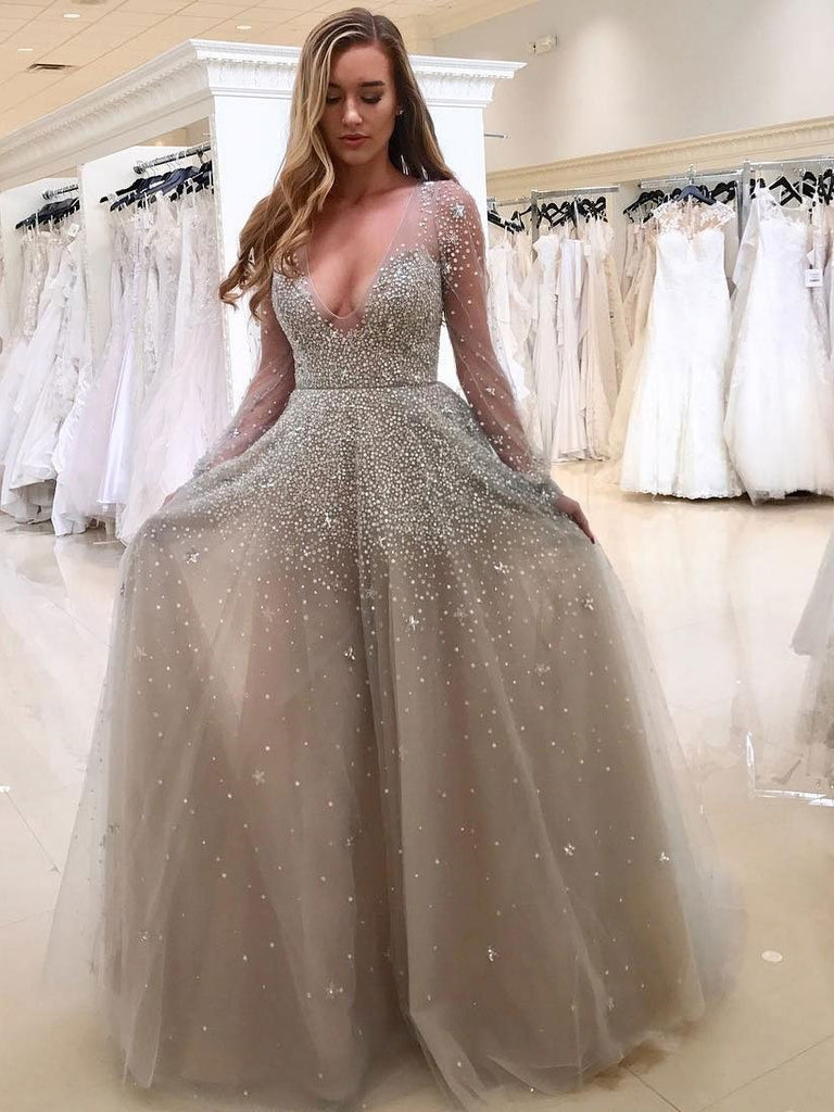 SheerGirl prom dresses A-line Grey Tulle with Beaded Deep V-neck Sexy Prom Dresses with Sleeves APD2759