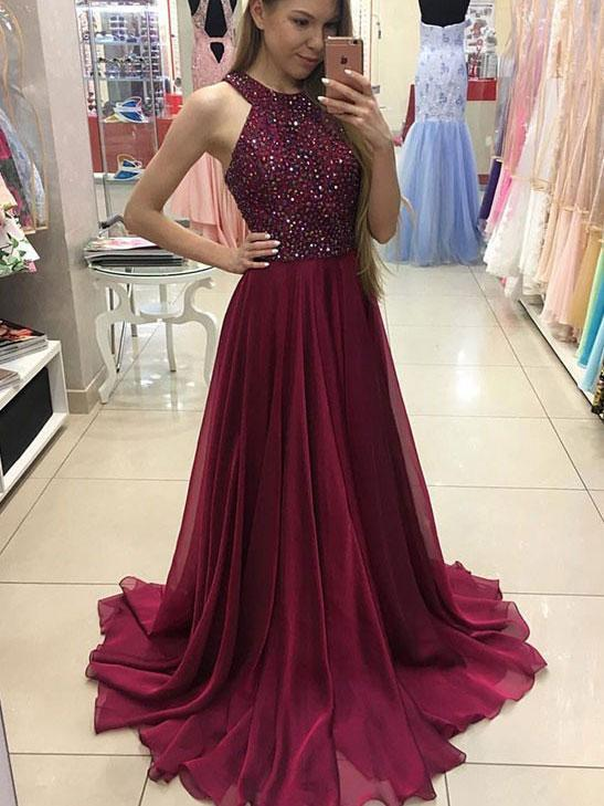 SheerGirl prom dresses A-line Halter Burgundy Chiffon Long Prom Dresses,Simple Pageant Dresses APD1936