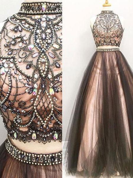 SheerGirl prom dresses A-line Halter High Neck Beaded Top Tulle 2 Piece Long Prom Dresses apd1939