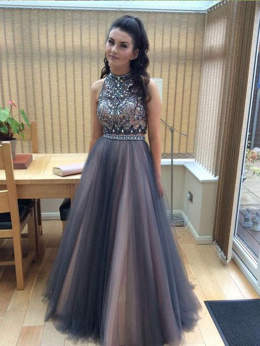 d4cbc8b46ee59 SheerGirl prom dresses A-line Halter High Neck Beaded Top Tulle 2 Piece  Long Prom