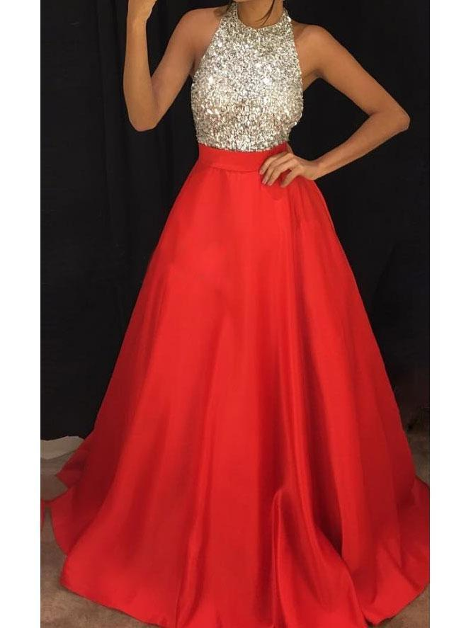 SheerGirl prom dresses A-line Halter Neck Beaded Bodice Red Satin Long Prom Dresses APD2852