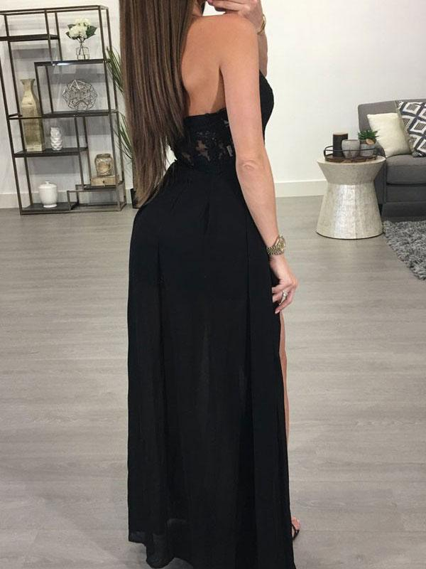 SheerGirl prom dresses A-line Halter See-through Black Chiffon Sexy Long Prom Dresses APD2722