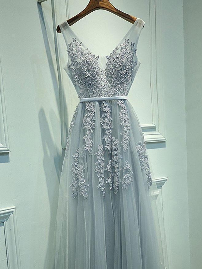 SheerGirl prom dresses Custom Size / Grey A-line Grey Tulle with Lace Appliqued V-neck Prom Dresses,Long Formal Gowns,apd2048