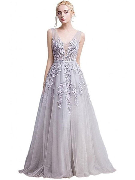 SheerGirl prom dresses Custom Size / Silver A-line Grey Tulle with Lace Appliqued V-neck Prom Dresses,Long Formal Gowns,apd2048