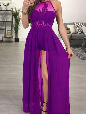 SheerGirl prom dresses US 0 / Purple A-line Halter See-through Black Chiffon Sexy Long Prom Dresses APD2722