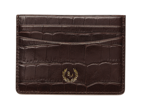 Bogmar Credit Card Holder - Truffle Brown Croco