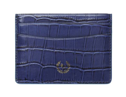 Bogmar Credit Card Holder - Mazarine Blue Croco