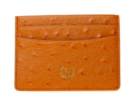 Bogmar Credit Card Holder - Monarch Orange Ostrich