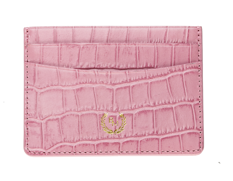 Bogmar Credit Card Holder - Aphrodite Pink Croco