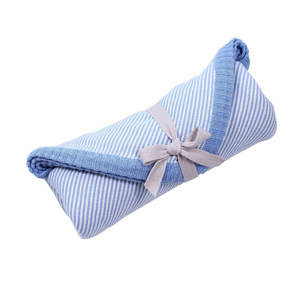 Linus Cotton Jersey Newborn Wrap - Baby Blue