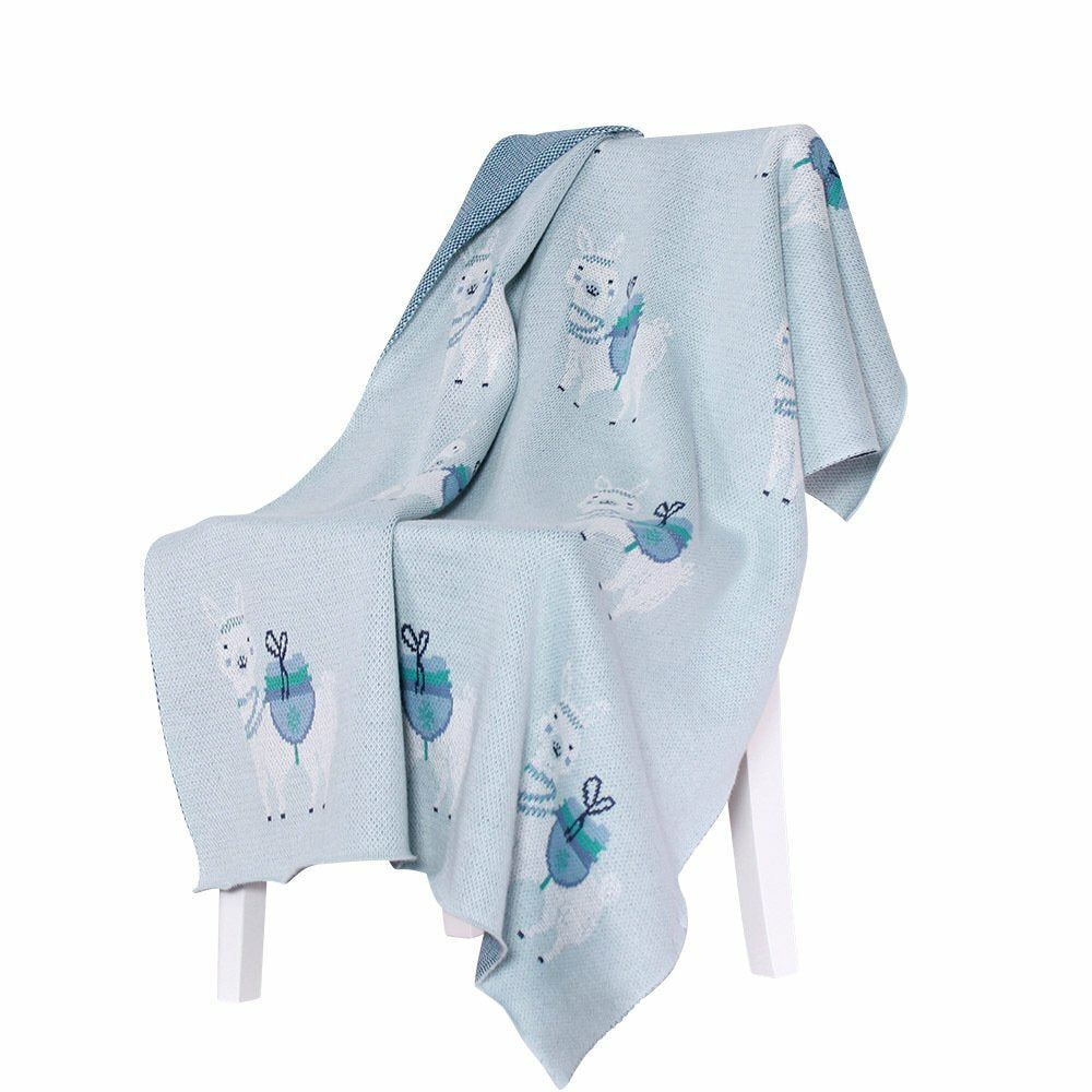 Llama Cotton Knit Baby Blanket - Pale Blue