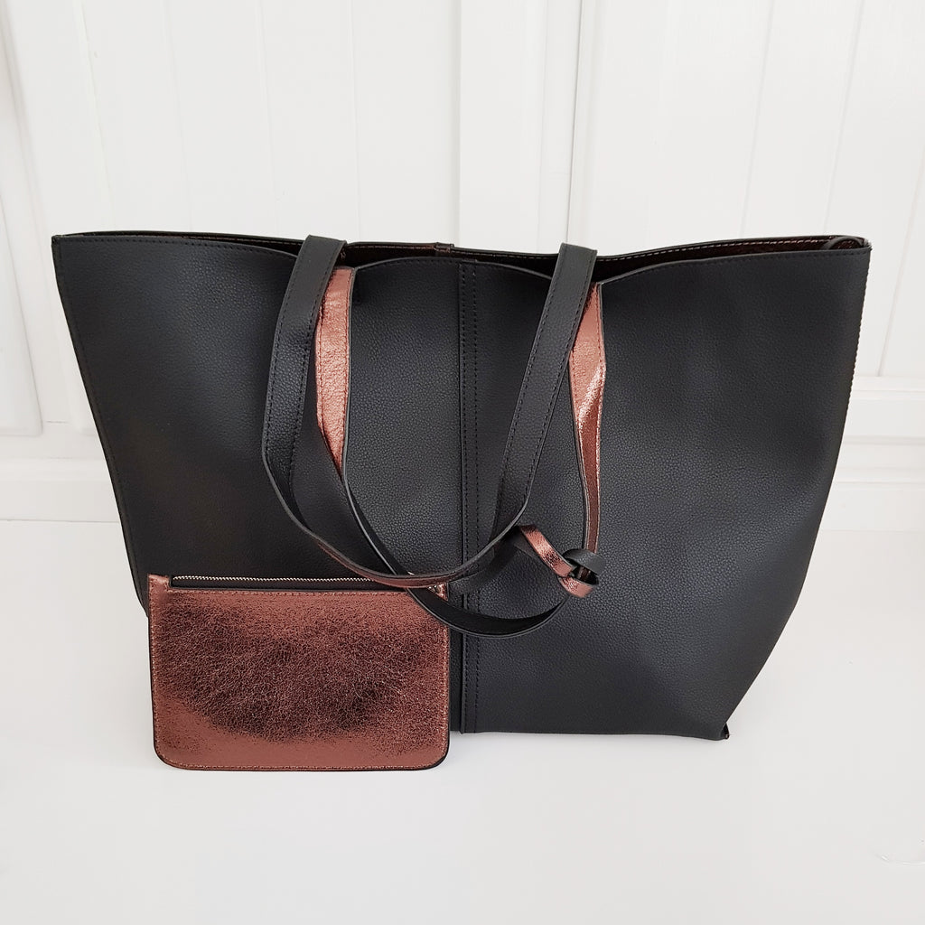 Metallic Reversible Tote - Black