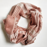Winter Warm Check Scarf - Dusty Pink