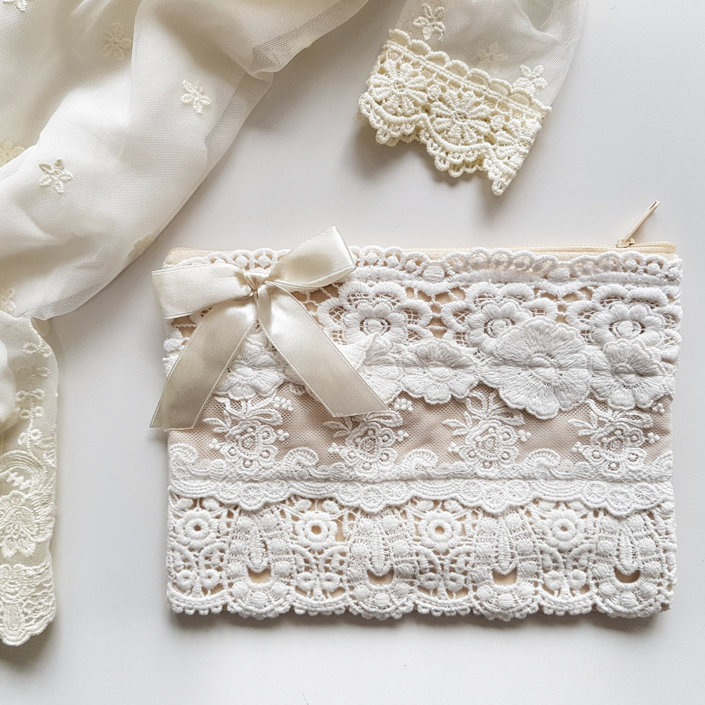 Large Lace Clutch - White