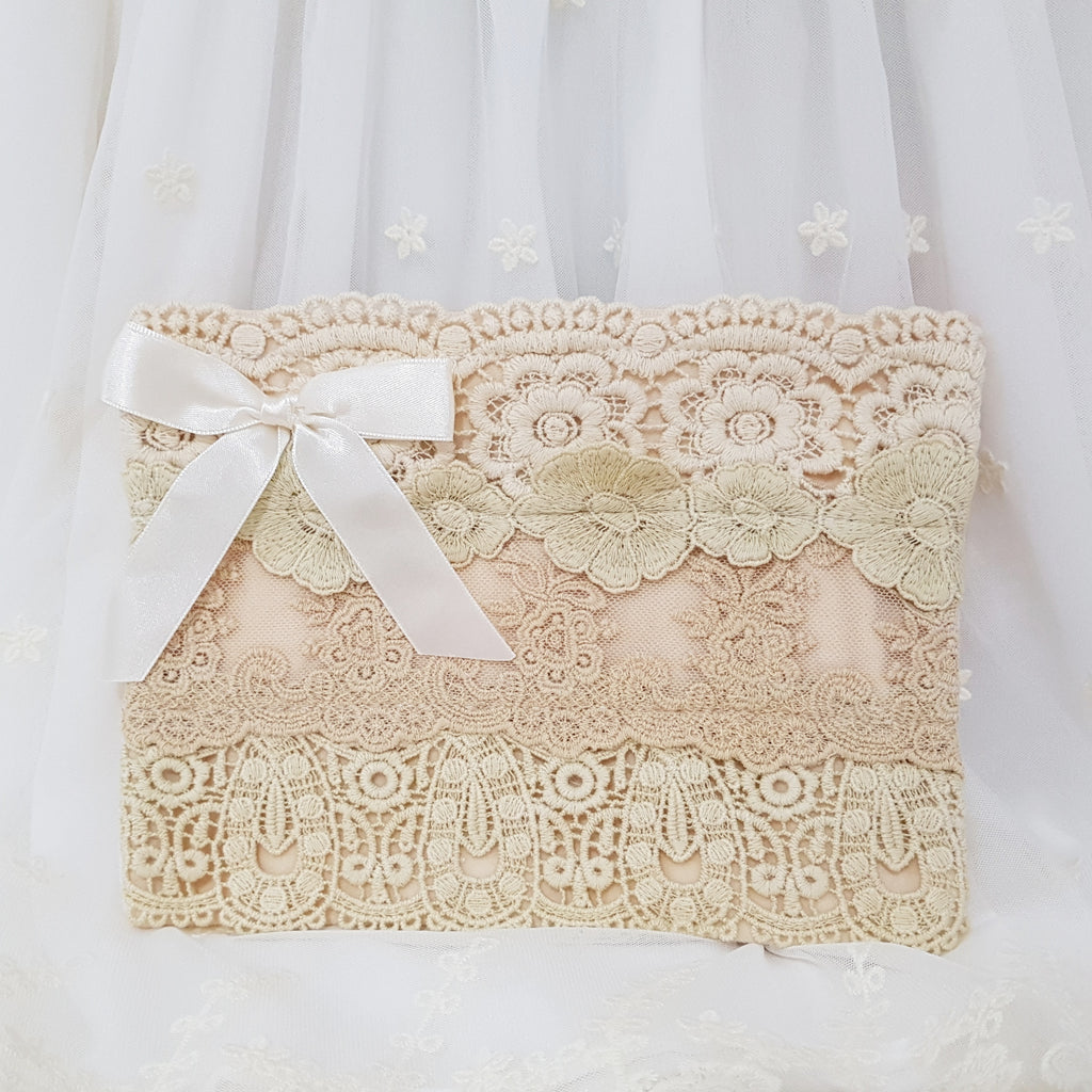 Large Lace Clutch - Cream