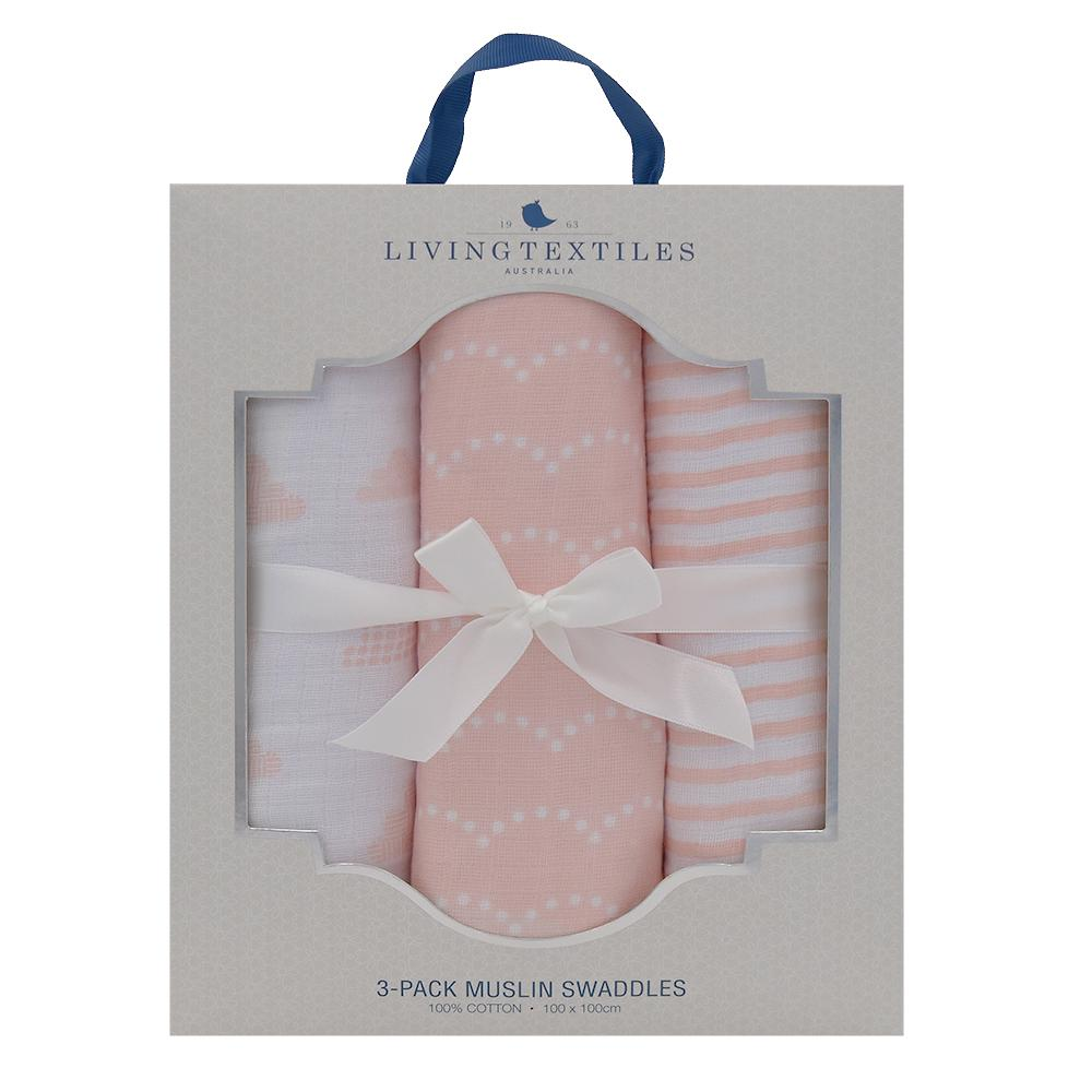Muslin Swaddle Wrap 3 Pack - Blush Pink