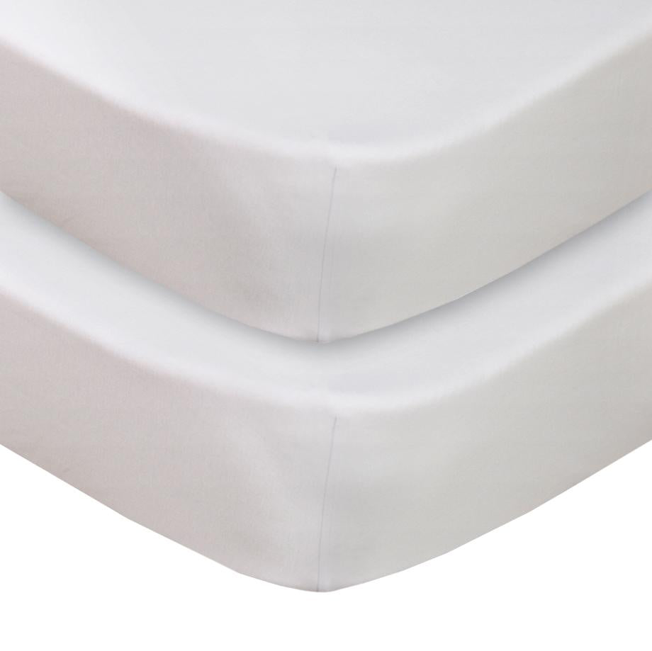 Jersey Fitted Cot Sheet 2 Pack - White