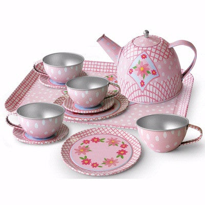 Tin Teaset In Floral Suitcase