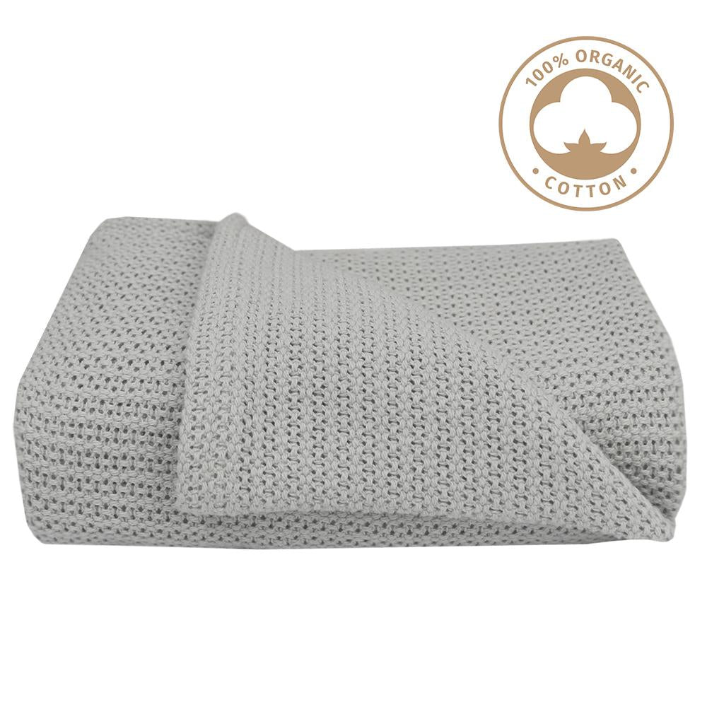 Organic Cotton Cellular Blanket - Grey