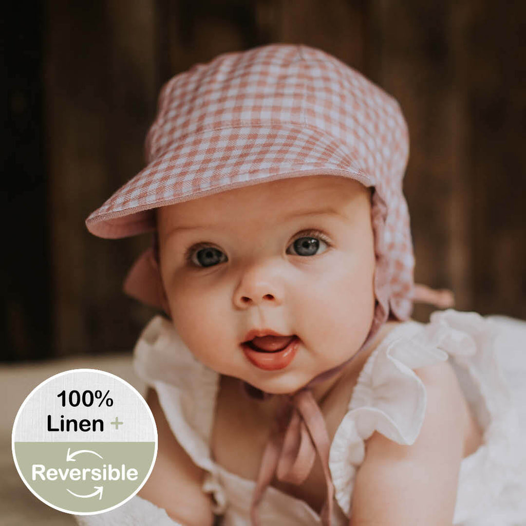 Reversible Baby Flap Sun Hat - Gingham/Rosa
