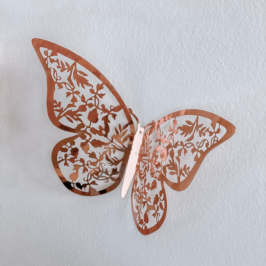 3D Butterfly Wall Decals - Rose Gold