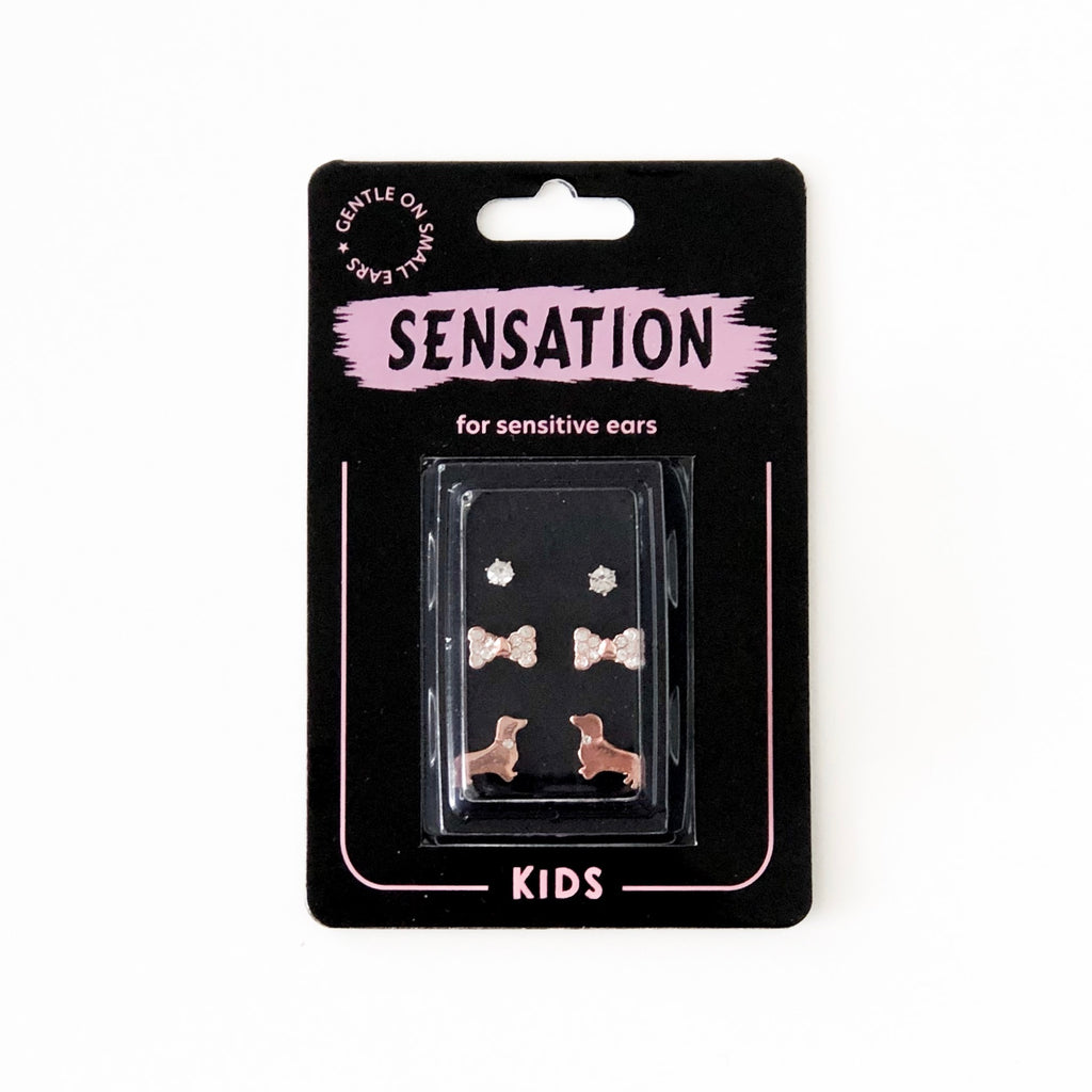 Kids Earrings - Rose Dog Set