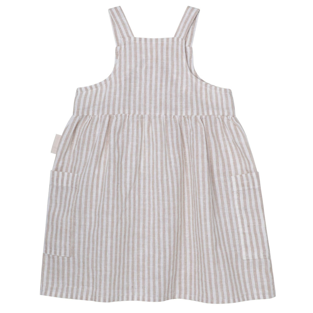 Button Front Dress - Oatmeal Stripe