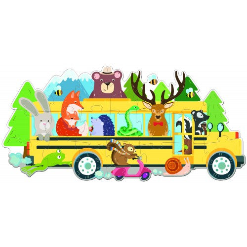Travel Giant Puzzle and Book- Animals On A Bus 20PCS
